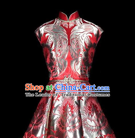 Asian Chinese Traditional Handmade Embroidery Satin Wedding Silk Fabric, Top Grade Nanjing Brocade Tang Suit Hanfu Fabric Cheongsam Red Cloth Material