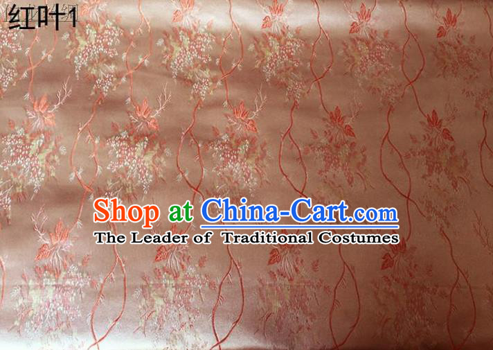 Asian Chinese Traditional Handmade Embroidery Maple Leaf Satin Wedding Silk Fabric, Top Grade Nanjing Brocade Tang Suit Hanfu Fabric Cheongsam Pink Cloth Material