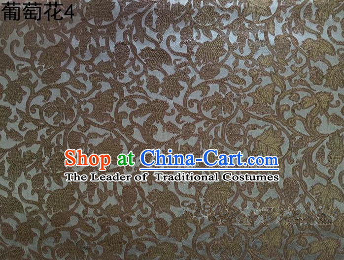 Traditional Asian Chinese Handmade Embroidery Grape Vine Satin Coffee Silk Fabric, Top Grade Nanjing Brocade Tang Suit Hanfu Clothing Fabric Cheongsam Cloth Material