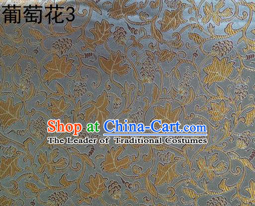 Traditional Asian Chinese Handmade Embroidery Grape Vine Satin Grey Silk Fabric, Top Grade Nanjing Brocade Tang Suit Hanfu Clothing Fabric Cheongsam Cloth Material