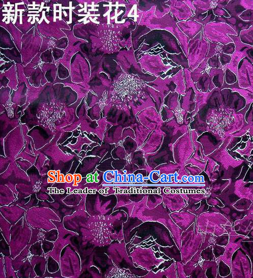 Traditional Asian Chinese Handmade Printing Flowers Satin Purple Silk Fabric, Top Grade Nanjing Brocade Tang Suit Hanfu Clothing Fabric Cheongsam Cloth Material
