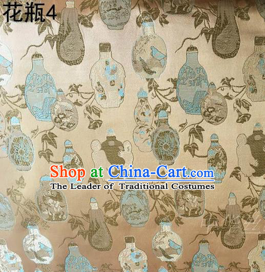 Traditional Asian Chinese Handmade Embroidery Vase Satin Golden Silk Fabric, Top Grade Nanjing Brocade Tang Suit Hanfu Clothing Fabric Cheongsam Cloth Material