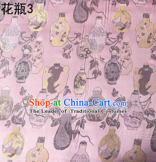 Traditional Asian Chinese Handmade Embroidery Vase Satin Pink Silk Fabric, Top Grade Nanjing Brocade Tang Suit Hanfu Clothing Fabric Cheongsam Cloth Material