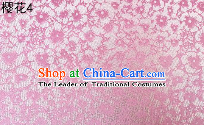 Traditional Asian Chinese Handmade Embroidery Oriental Cherry Satin Pink Silk Fabric, Top Grade Nanjing Brocade Tang Suit Hanfu Clothing Fabric Cheongsam Cloth Material
