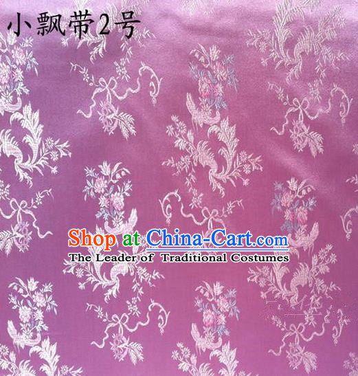 Traditional Asian Chinese Handmade Embroidery Flowers Ribbons Satin Purple Silk Fabric, Top Grade Nanjing Brocade Tang Suit Hanfu Clothing Fabric Cheongsam Cloth Material