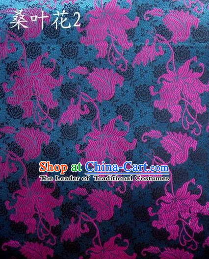 Traditional Asian Chinese Handmade Embroidery Mulberry Leaf Flowers Satin Navy Silk Fabric, Top Grade Nanjing Brocade Tang Suit Hanfu Clothing Fabric Cheongsam Cloth Material