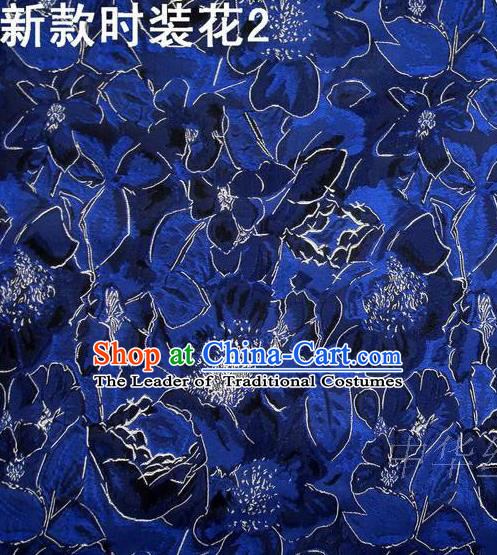 Traditional Asian Chinese Handmade Printing Flowers Satin Royalblue Silk Fabric, Top Grade Nanjing Brocade Tang Suit Hanfu Clothing Fabric Cheongsam Cloth Material