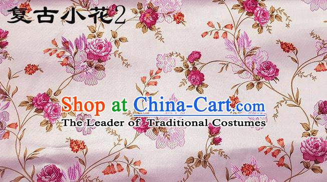 Traditional Asian Chinese Handmade Embroidery Little Rose Flowers Satin Pink Silk Fabric, Top Grade Nanjing Brocade Tang Suit Hanfu Clothing Fabric Cheongsam Cloth Material
