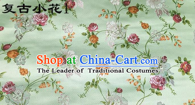 Traditional Asian Chinese Handmade Embroidery Little Rose Flowers Satin Green Silk Fabric, Top Grade Nanjing Brocade Tang Suit Hanfu Clothing Fabric Cheongsam Cloth Material