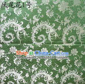 Traditional Asian Chinese Handmade Embroidery Ombre Peony Flowers Satin Green Silk Fabric, Top Grade Nanjing Brocade Tang Suit Hanfu Clothing Fabric Cheongsam Cloth Material