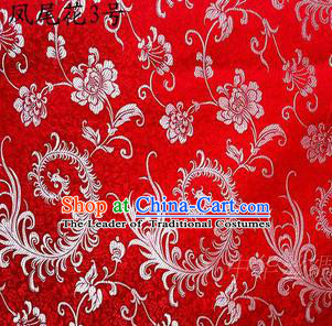 Traditional Asian Chinese Handmade Embroidery Ombre Peony Flowers Satin Red Silk Fabric, Top Grade Nanjing Brocade Tang Suit Hanfu Clothing Fabric Cheongsam Cloth Material