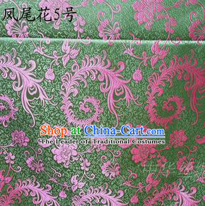 Traditional Asian Chinese Handmade Embroidery Pink Ombre Peony Flowers Satin Green Silk Fabric, Top Grade Nanjing Brocade Tang Suit Hanfu Clothing Fabric Cheongsam Cloth Material