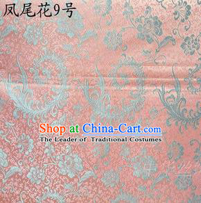 Traditional Asian Chinese Handmade Embroidery Ombre Peony Flowers Satin Pink Silk Fabric, Top Grade Nanjing Brocade Tang Suit Hanfu Clothing Fabric Cheongsam Cloth Material
