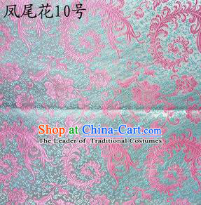 Traditional Asian Chinese Handmade Embroidery Pink Ombre Peony Flowers Satin Blue Silk Fabric, Top Grade Nanjing Brocade Tang Suit Hanfu Clothing Fabric Cheongsam Cloth Material