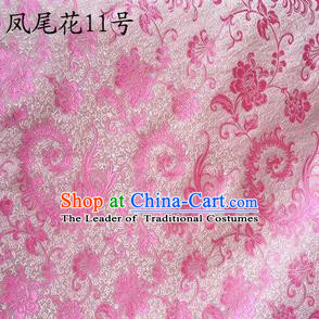 Traditional Asian Chinese Handmade Embroidery Pink Ombre Peony Flowers Satin Silk Fabric, Top Grade Nanjing Brocade Tang Suit Hanfu Clothing Fabric Cheongsam Cloth Material