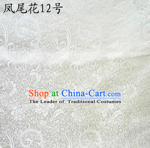 Traditional Asian Chinese Handmade Embroidery Ombre Peony Flowers Satin White Silk Fabric, Top Grade Nanjing Brocade Tang Suit Hanfu Clothing Fabric Cheongsam Cloth Material