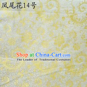 Traditional Asian Chinese Handmade Embroidery Ombre Peony Flowers Satin Yellow Silk Fabric, Top Grade Nanjing Brocade Tang Suit Hanfu Clothing Fabric Cheongsam Cloth Material