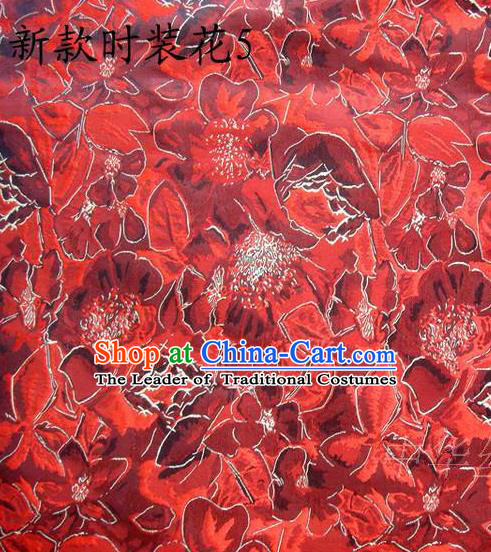 Traditional Asian Chinese Handmade Printing Flowers Satin Red Silk Fabric, Top Grade Nanjing Brocade Tang Suit Hanfu Clothing Fabric Cheongsam Cloth Material