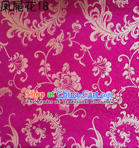 Traditional Asian Chinese Handmade Embroidery Ombre Peony Flowers Satin Rosy Silk Fabric, Top Grade Nanjing Brocade Tang Suit Hanfu Clothing Fabric Cheongsam Cloth Material
