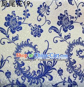 Traditional Asian Chinese Handmade Embroidery Blue Ombre Peony Flowers Satin White Silk Fabric, Top Grade Nanjing Brocade Tang Suit Hanfu Clothing Fabric Cheongsam Cloth Material