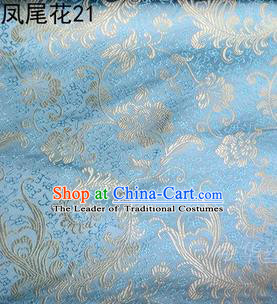 Traditional Asian Chinese Handmade Embroidery Golden Ombre Peony Flowers Satin Blue Silk Fabric, Top Grade Nanjing Brocade Tang Suit Hanfu Clothing Fabric Cheongsam Cloth Material