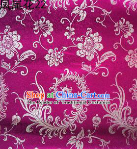 Traditional Asian Chinese Handmade Embroidery Golden Ombre Peony Flowers Satin Purple Silk Fabric, Top Grade Nanjing Brocade Tang Suit Hanfu Clothing Fabric Cheongsam Cloth Material