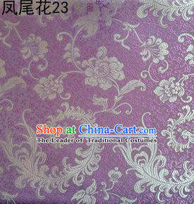 Traditional Asian Chinese Handmade Embroidery Golden Ombre Peony Flowers Satin Lilac Silk Fabric, Top Grade Nanjing Brocade Tang Suit Hanfu Clothing Fabric Cheongsam Cloth Material