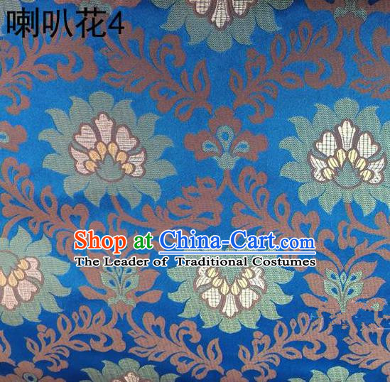 Traditional Asian Chinese Handmade Embroidery Petunia Flowers Satin Blue Silk Fabric, Top Grade Nanjing Brocade Tang Suit Hanfu Clothing Fabric Cheongsam Cloth Material