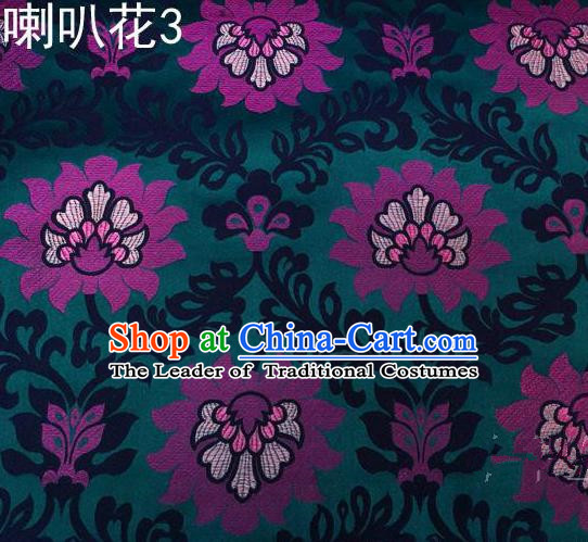 Traditional Asian Chinese Handmade Embroidery Petunia Flowers Satin Deep Green Silk Fabric, Top Grade Nanjing Brocade Tang Suit Hanfu Clothing Fabric Cheongsam Cloth Material