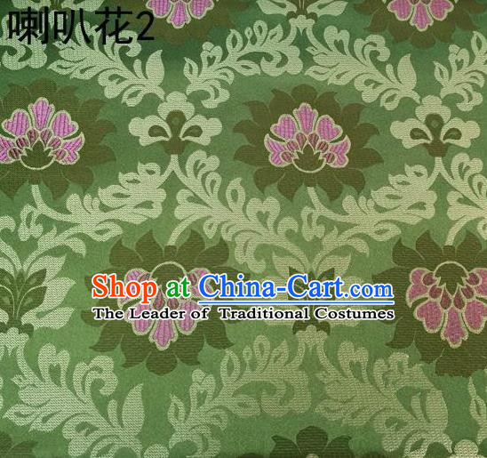 Traditional Asian Chinese Handmade Embroidery Petunia Flowers Satin Green Silk Fabric, Top Grade Nanjing Brocade Tang Suit Hanfu Clothing Fabric Cheongsam Cloth Material