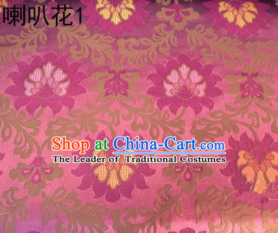 Traditional Asian Chinese Handmade Embroidery Petunia Flowers Satin Pink Silk Fabric, Top Grade Nanjing Brocade Tang Suit Hanfu Clothing Fabric Cheongsam Cloth Material