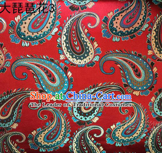 Traditional Asian Chinese Handmade Embroidery Pipa Take Satin Red Silk Fabric, Top Grade Nanjing Brocade Ancient Costume Tang Suit Hanfu Clothing Fabric Cheongsam Cloth Material