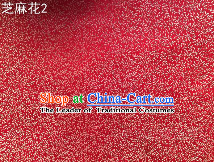 Traditional Asian Chinese Handmade Embroidery Sesame Flowers Satin Red Silk Fabric, Top Grade Nanjing Brocade Ancient Costume Tang Suit Hanfu Clothing Fabric Cheongsam Cloth Material