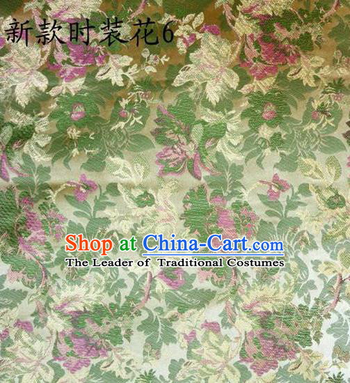 Traditional Asian Chinese Handmade Printing Flowers Satin Yellow Silk Fabric, Top Grade Nanjing Brocade Tang Suit Hanfu Clothing Fabric Cheongsam Cloth Material