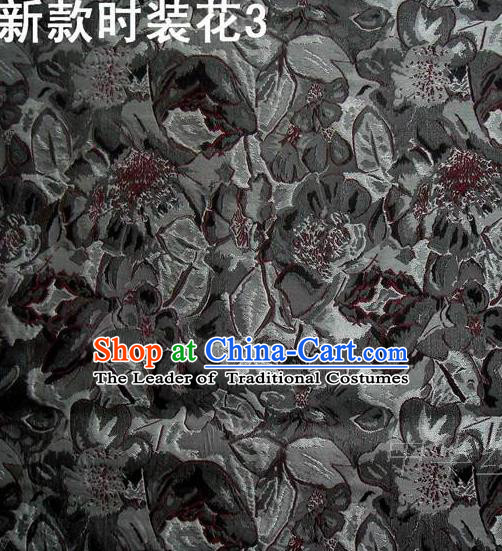 Traditional Asian Chinese Handmade Printing Flowers Satin Black Silk Fabric, Top Grade Nanjing Brocade Tang Suit Hanfu Clothing Fabric Cheongsam Cloth Material