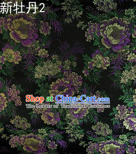 Traditional Asian Chinese Handmade Embroidery Peony Flowers Satin Black Silk Fabric, Top Grade Nanjing Brocade Ancient Costume Tang Suit Hanfu Clothing Fabric Cheongsam Cloth Material