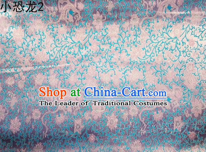 Traditional Asian Chinese Handmade Embroidery Dragon Flowers Satin Blue Silk Fabric, Top Grade Nanjing Brocade Ancient Costume Tang Suit Hanfu Clothing Fabric Cheongsam Cloth Material