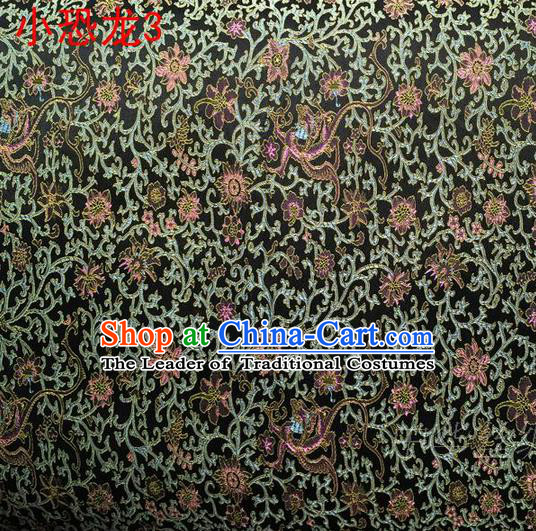 Traditional Asian Chinese Handmade Embroidery Dragon Flowers Satin Black Silk Fabric, Top Grade Nanjing Brocade Ancient Costume Tang Suit Hanfu Clothing Fabric Cheongsam Cloth Material