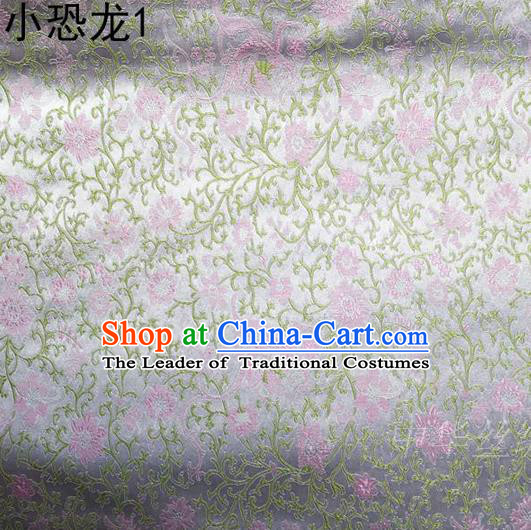 Traditional Asian Chinese Handmade Embroidery Dragon Flowers Satin Sliver Silk Fabric, Top Grade Nanjing Brocade Ancient Costume Tang Suit Hanfu Clothing Fabric Cheongsam Cloth Material