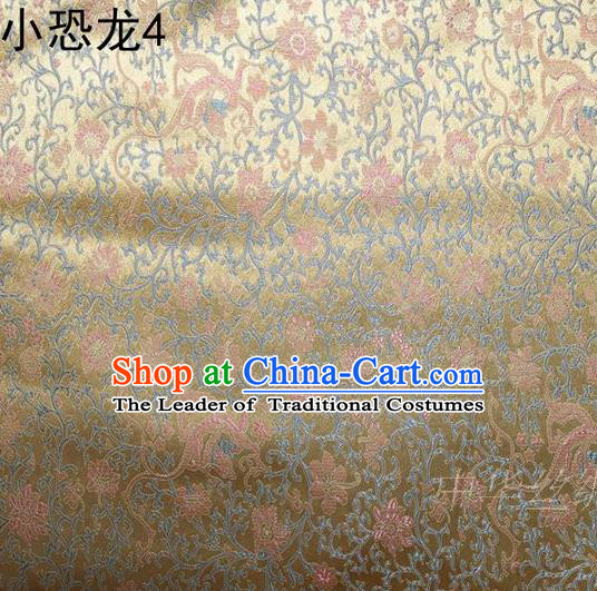 Traditional Asian Chinese Handmade Embroidery Dragon Flowers Satin Golden Silk Fabric, Top Grade Nanjing Brocade Ancient Costume Tang Suit Hanfu Clothing Fabric Cheongsam Cloth Material