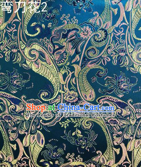 Asian Chinese Traditional Handmade Printing Machetes Flowers Satin Thangka Blue Silk Fabric, Top Grade Nanjing Brocade Tang Suit Hanfu Fabric Cheongsam Cloth Material