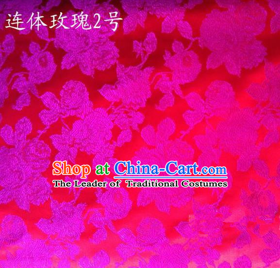 Traditional Asian Chinese Handmade Printing Flowers Satin Pink Silk Fabric, Top Grade Nanjing Brocade Tang Suit Hanfu Clothing Fabric Cheongsam Cloth Material