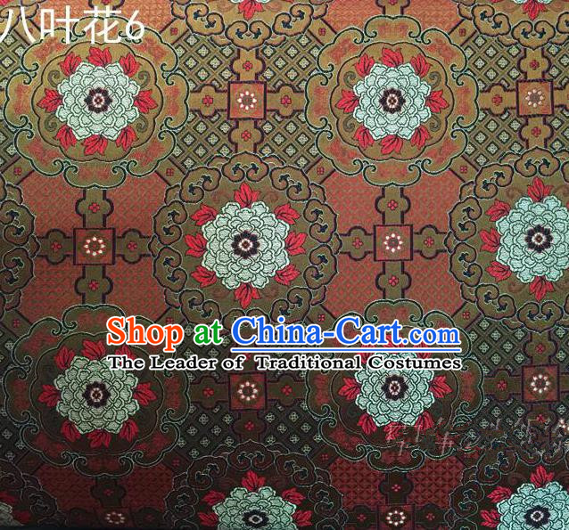 Traditional Asian Chinese Handmade Embroidery Flowers Mongolian Robe Satin Brown Silk Fabric, Top Grade Nanjing Brocade Ancient Costume Tang Suit Hanfu Clothing Fabric Cheongsam Cloth Material