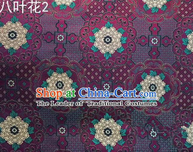 Traditional Asian Chinese Handmade Embroidery Flowers Mongolian Robe Satin Purple Silk Fabric, Top Grade Nanjing Brocade Ancient Costume Tang Suit Hanfu Clothing Fabric Cheongsam Cloth Material