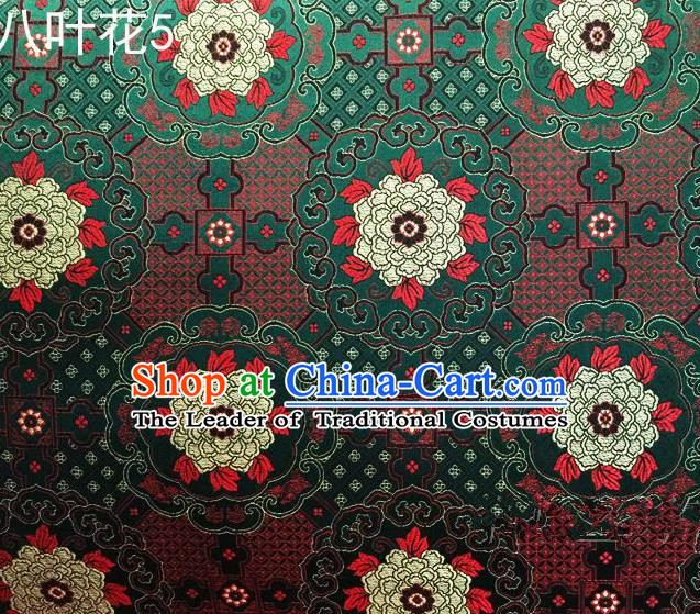 Traditional Asian Chinese Handmade Embroidery Flowers Mongolian Robe Satin Green Silk Fabric, Top Grade Nanjing Brocade Ancient Costume Tang Suit Hanfu Clothing Fabric Cheongsam Cloth Material