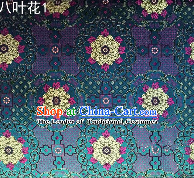 Traditional Asian Chinese Handmade Embroidery Flowers Mongolian Robe Satin Peacock Blue Silk Fabric, Top Grade Nanjing Brocade Ancient Costume Tang Suit Hanfu Clothing Fabric Cheongsam Cloth Material