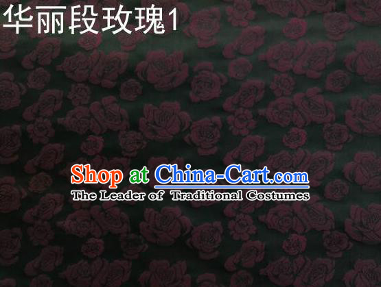 Traditional Asian Chinese Handmade Embroidery Roses Satin Black Silk Fabric, Top Grade Nanjing Brocade Ancient Costume Tang Suit Hanfu Clothing Fabric Cheongsam Cloth Material