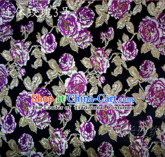 Traditional Asian Chinese Handmade Printing Roses Flowers Satin Black Silk Fabric, Top Grade Nanjing Brocade Tang Suit Hanfu Clothing Fabric Cheongsam Cloth Material