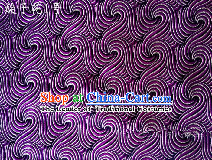 Traditional Asian Chinese Handmade Printing Spiral Structure Satin Purple Silk Fabric, Top Grade Nanjing Brocade Tang Suit Hanfu Clothing Fabric Cheongsam Cloth Material