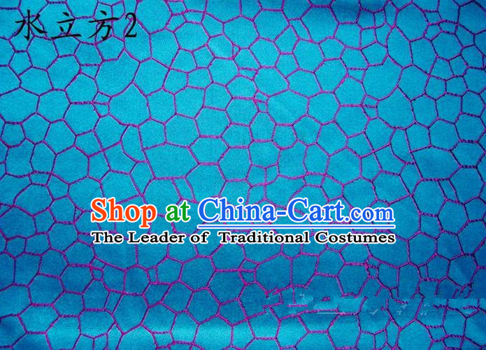 Traditional Asian Chinese Handmade Printing Water Cube Structure Satin Blue Silk Fabric, Top Grade Nanjing Brocade Tang Suit Hanfu Clothing Fabric Cheongsam Cloth Material